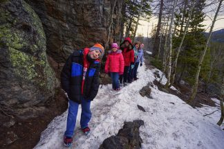 Fuhrman Family Hikers On The Trail To Dream Lake